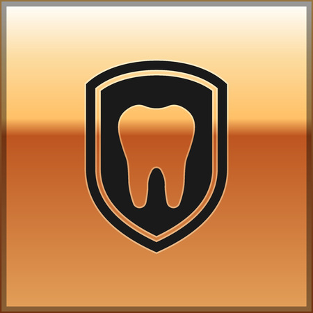 Black Dental protection icon isolated on gold background. Tooth on shield logo icon. Vector Illustration Illustration