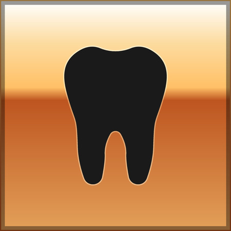 Black Tooth icon isolated on gold background. Tooth symbol for dentistry clinic or dentist medical center and toothpaste package. Vector Illustration