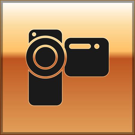 Black Cinema camera icon isolated on gold background. Video camera. Movie sign. Film projector. Vector Illustration Illustration