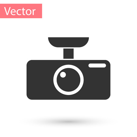 Grey Car DVR icon isolated on white background. Car digital video recorder icon. Vector Illustration Illustration