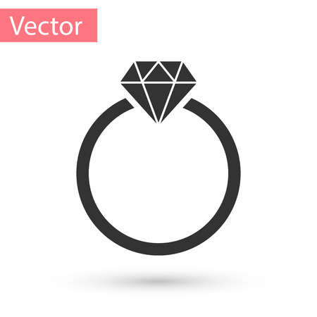Grey Diamond engagement ring icon isolated on white background. Vector Illustration