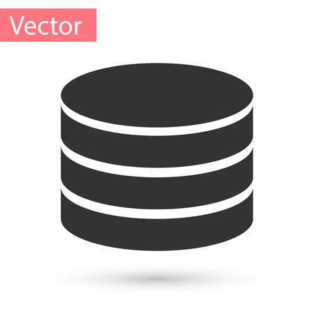 Icono de base de datos gris aislado sobre fondo blanco. Bases de datos en red, disco con barra de progreso. Concepto de copia de seguridad. Ilustración vectorial