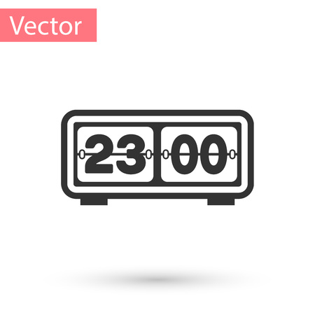 Grey Retro flip clock icon isolated on white background. Wall flap clock, number counter template, all digits with flips. Vector Illustration