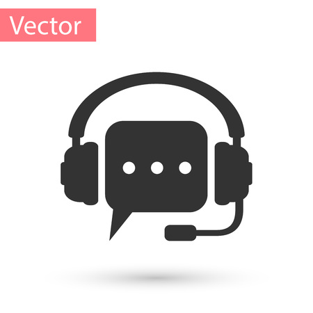Grey Headphones with speech bubble icon on white background. Support customer services, hotline, call center, guideline, faq, maintenance, assistance. Vector Illustration