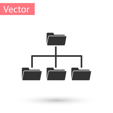 Grey Folder tree icon isolated on white background. Computer network file folder organization structure flowchart. Vector Illustration