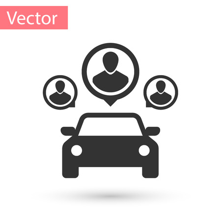 Grey Car sharing with group of people icon isolated on white background. Carsharing sign. Transport renting service concept. Vector Illustration Illustration