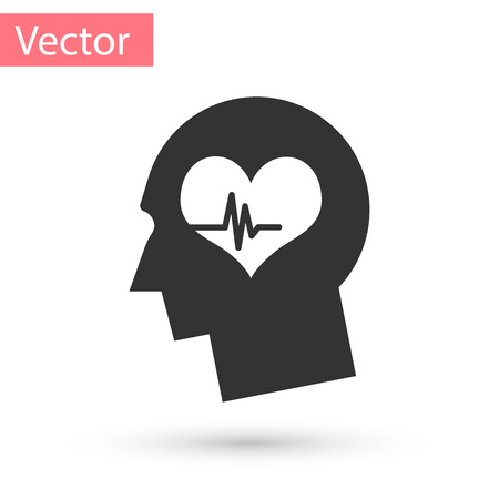 Grey Male head with a heartbeat icon isolated on white background. Head with mental health, healthcare and medical sign. Vector Illustration