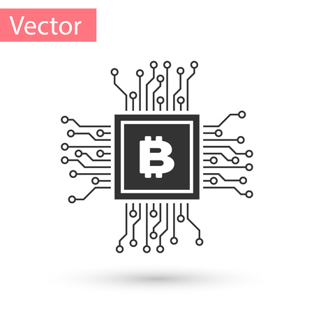 Grey CPU mining farm icon isolated on white background. Bitcoin sign inside processor. Cryptocurrency mining community. Digital money. Vector Illustration Illustration
