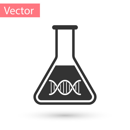 Grey DNA research, search icon isolated on white background. Genetic engineering, genetics testing, cloning, paternity testing. Vector Illustration