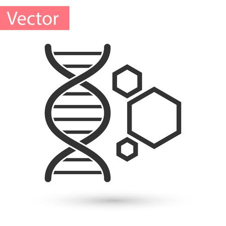 Grey Genetic engineering icon isolated on white background. DNA analysis, genetics testing, cloning, paternity testing. Vector Illustration