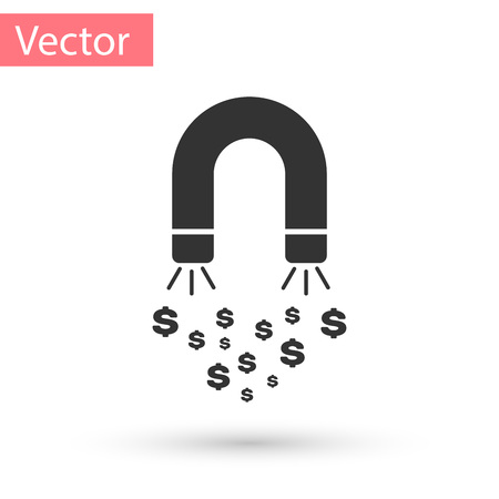 Grey Magnet with money icon isolated on white background. Concept of attracting investments, money. Big business profit attraction and success. Vector Illustration Illustration