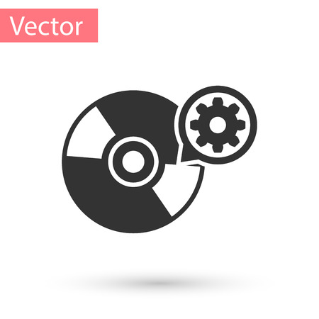 Grey CD or DVD disk and gear icon isolated on white background. Adjusting app, service concept, setting options, maintenance, repair, fixing. Vector Illustration
