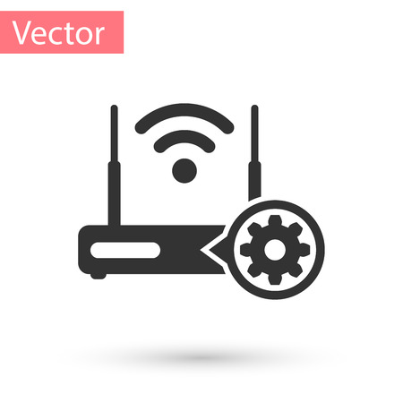 Grey Router signal and gear icon isolated on white background. Adjusting app, service concept, setting options, maintenance, repair, fixing. Vector Illustration