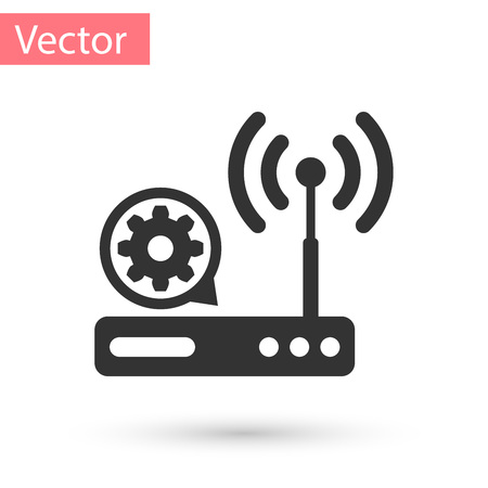 Grey Router and signal and gear icon isolated on white background. Adjusting app, service concept, setting options, maintenance, repair, fixing. Vector Illustration