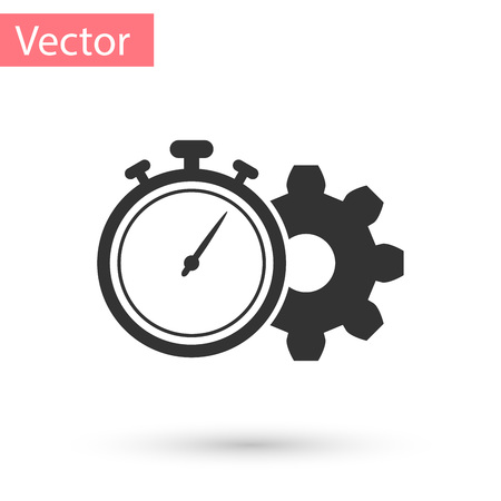 Grey Time Management icon isolated on white background. Clock and gear sign. Productivity symbol. Vector Illustration