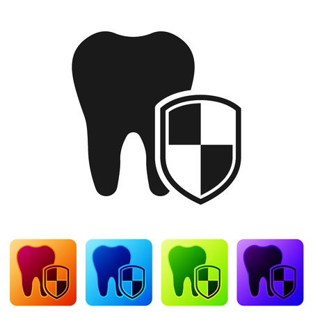 Black Dental protection icon isolated on white background. Tooth on shield logo. Set icon in color square buttons. Vector Illustration