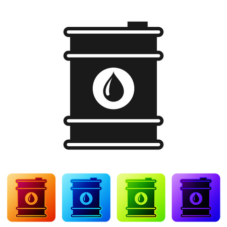 Black Barrel oil icon isolated on white background. Set icon in color square buttons. Vector Illustration