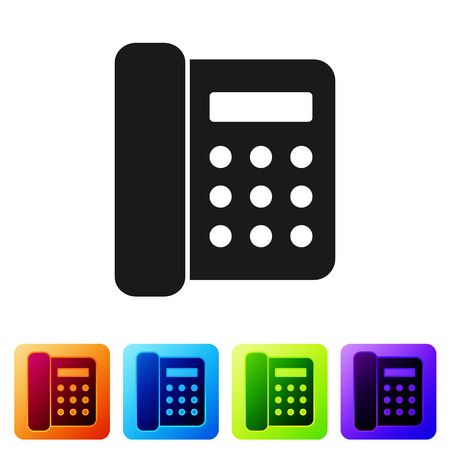 Black Telephone icon isolated on white background. Landline phone. Set icon in color square buttons. Vector Illustration Illustration