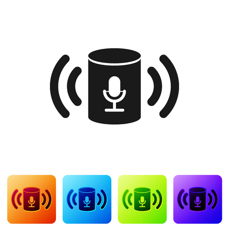 Black Voice assistant icon isolated on white background. Voice control user interface smart speaker. Set icon in color square buttons. Vector Illustration