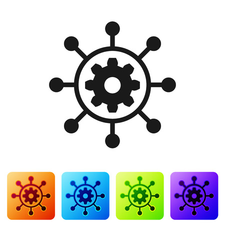 Black Project management icon isolated on white background. Hub and spokes and gear solid icon. Set icon in color square buttons. Vector Illustration