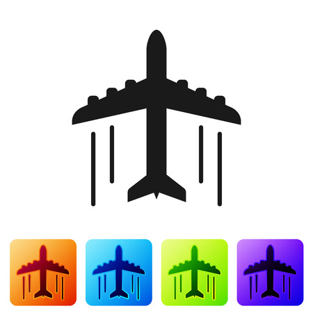 Black Plane icon isolated on white background. Flying airplane icon. Airliner sign. Set icon in color square buttons. Vector Illustration Banque d'images - 124103296