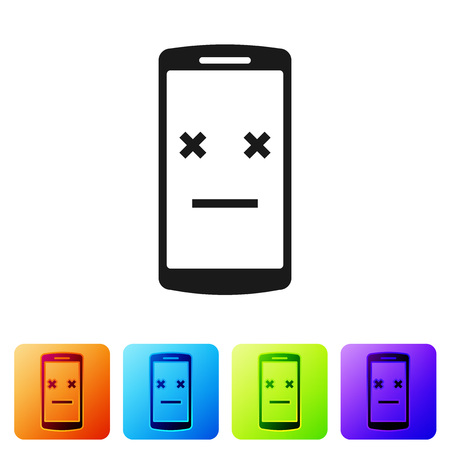Black Dead phone icon isolated on white background. Deceased digital device emoji symbol. Corpse smartphone showing facial emotion. Set icon in color square buttons. Vector Illustration