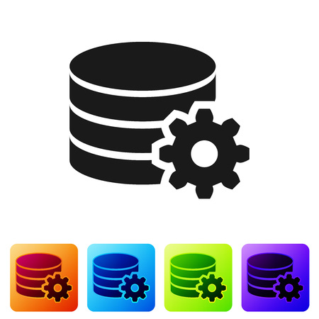 Black Setting database server icon isolated on white background. Database Center. Set icon in color square buttons. Vector Illustration Illustration