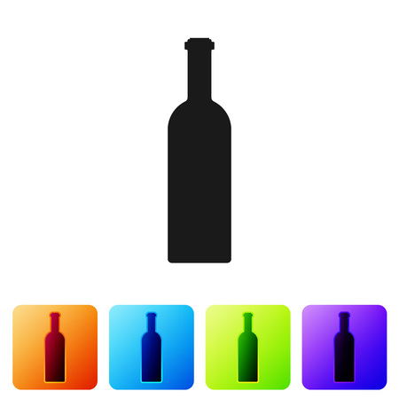 Black Bottle of wine icon isolated on white background. Set icon in color square buttons. Vector Illustration Ilustração