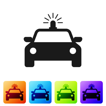 Black Police car and police flasher icon isolated on white background. Emergency flashing siren. Set icon in color square buttons. Vector Illustration