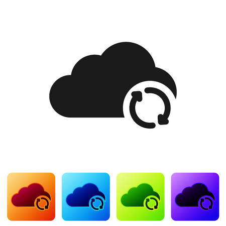 Black Cloud sync refresh icon isolated on white background. Cloud and arrows. Set icon in color square buttons. Vector Illustration Stock Illustratie