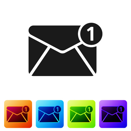 Black Envelope icon isolated on white background. Received message concept. New, email incoming message, sms. Mail delivery service. Set icon in color square buttons. Vector Illustration