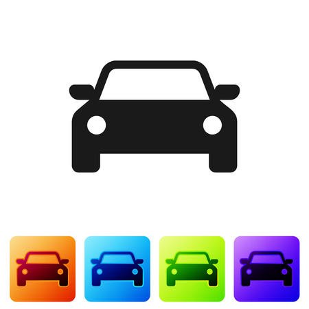 Black Car icon isolated on white background. Set icon in color square buttons. Vector Illustration