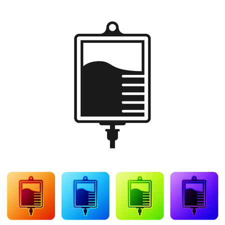 Black IV bag icon isolated on white background. Blood bag icon. Donate blood concept. The concept of treatment and therapy, chemotherapy. Set icon in color square buttons. Vector Illustration