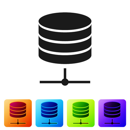 Black Server, Data, Web Hosting icon isolated on white background. Set icon in color square buttons. Vector Illustration