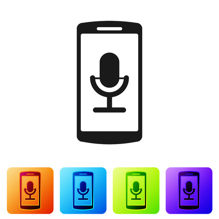Black Mobile recording icon isolated on white background. Mobile phone with microphone. Voice recorder app smartphone interface. Set icon in color square buttons. Vector Illustration