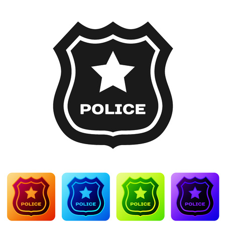 Black Police badge icon isolated on white background. Sheriff badge sign. Set icon in color square buttons. Vector Illustration