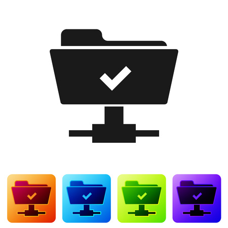 Black FTP operation successful icon on white background. Concept of software update, transfer protocol, teamwork tool management, copy process. Set icon in color square buttons. Vector Illustration
