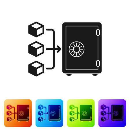 Black Proof of stake icon isolated on white background. Cryptocurrency economy and finance collection. Set icon in color square buttons. Vector Illustration
