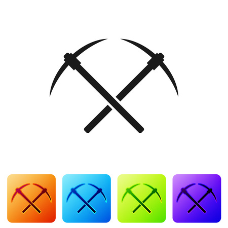 Black Crossed pickaxe icon isolated on white background. Blockchain technology, cryptocurrency mining, bitcoin, altcoins, digital money market. Set icon in color square buttons. Vector Illustration Vectores