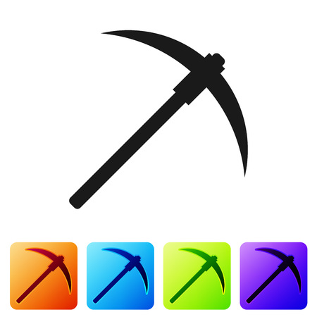 Black Pickaxe icon isolated on white background. Blockchain technology, cryptocurrency mining, bitcoin, digital money market, cryptocoin wallet. Set icon in color square buttons. Vector Illustration