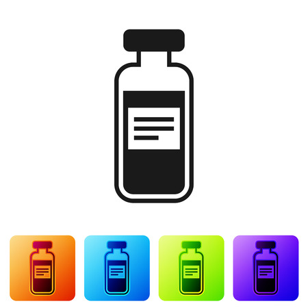 Black Medical vial, ampoule, bottle icon isolated on white background. Vaccination, injection, vaccine healthcare concept. Set icon in color square buttons. Vector Illustration Vectores