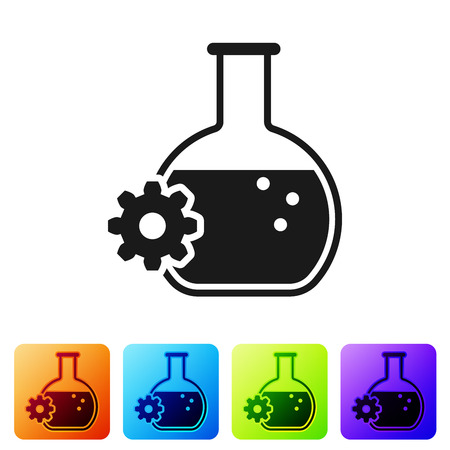 Black Bioengineering icon isolated on white background. Element of genetics and bioengineering icon. Biology, molecule, chemical icon. Set icon in color square buttons. Vector Illustration