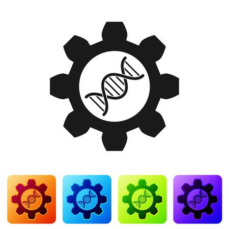 Schwarze Gentechnik-Ikone isoliert auf weißem Hintergrund. DNA-Analyse, genetische Tests, Klonen, Vaterschaftstests. Stellen Sie das Symbol in den farbigen Quadrattasten ein. Vektorillustration Vektorgrafik