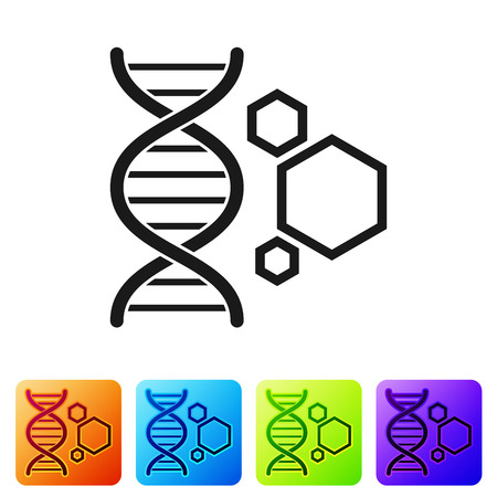 Black Genetic engineering icon isolated on white background. DNA analysis, genetics testing, cloning, paternity testing. Set icon in color square buttons. Vector Illustration