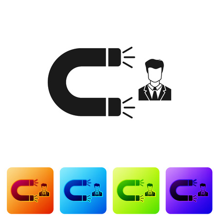 Black Customer attracting icon isolated on white background. Customer retention, support and service. Customer man attracting with magnet. Set icon in color square buttons. Vector Illustration Vektoros illusztráció