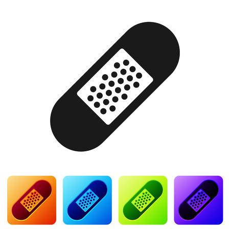 Black Bandage plaster icon isolated on white background. Medical plaster, adhesive bandage, flexible fabric bandage. Set icon in color square buttons. Vector Illustration Standard-Bild - 120095873