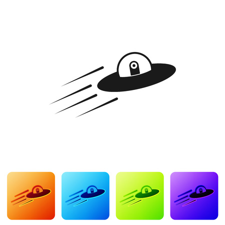 Black UFO flying spaceship and alien icon isolated on white background. Flying saucer. Alien space ship. Futuristic unknown flying object. Set icon in color square buttons. Vector Illustration