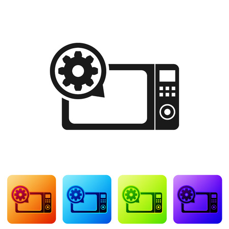 Black Microwave oven and gear icon isolated on white background. Adjusting app, service concept, setting options, maintenance, repair, fixing. Set icon in color square buttons. Vector Illustration