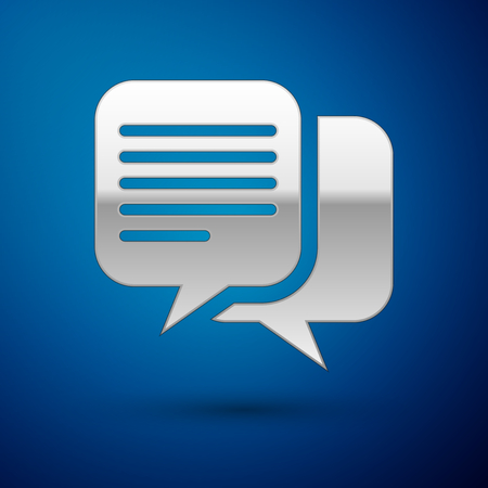 Silver Chat icon isolated on blue background. Speech bubbles symbol. Vector Illustration