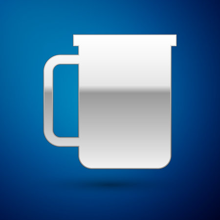 Silver Coffee cup flat icon isolated on blue background. Tea cup. Hot drink coffee. Vector Illustration